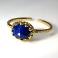 天然石指輪  ラピス ローズカット ハンマードリング(カボションオーバル横8×6mm)(真鍮ブラス・ゴールドカラー)(1個)