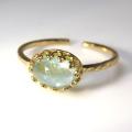 天然石指輪  アクアマリン ハンマードリング(カボションオーバル横8×6mm)(真鍮ブラス・ゴールドカラー)(1個)