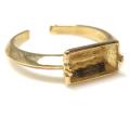 指輪 ゴールドブラスリング 空枠 バゲット 2本爪 10×5mm(真鍮ゴールドカラー) 1個