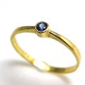 天然石リング 指輪 ブルーサファイア(スリランカ産) ラウンド 2.2mm(真鍮ブラス・ゴールドカラー)(1個)