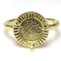 ブラスリング 真鍮 指輪 3本爪 空枠 カボション ラウンド 8mm ゴールドカラー(2個)