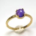 天然石リング 指輪 アメジスト ハンマードリング(4本爪 カボション ラウンド 5mm)(真鍮ブラス・ゴールドカラー)