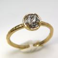 天然石リング 指輪 ブラックルチルクオーツ ハンマードリング(4本爪 カボション ラウンド 5mm)(真鍮ブラス・ゴールドカラー)