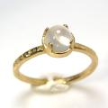 天然石リング 指輪 ムーンストーン ハンマードリング(4本爪 カボション ラウンド 5mm)(真鍮ブラス・ゴールドカラー)