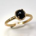 天然石リング 指輪 ブラックオニキス ハンマードリング(4本爪 カボション ラウンド 5mm)(真鍮ブラス・ゴールドカラー)