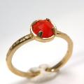 天然石リング 指輪 カーネリアン ローズカット ハンマードリング(4本爪 カボション ラウンド 5mm)(真鍮ブラス・ゴールドカラー)