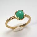 天然石リング 指輪 ミルキーグリーン エメラルド ハンマードリング(4本爪 カボション ラウンド 5mm)(真鍮ブラス・ゴールドカラー)