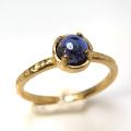 天然石リング 指輪 アイオライト ハンマードリング(4本爪 カボション ラウンド 5mm)(真鍮ブラス・ゴールドカラー)