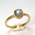 天然石リング 指輪 ラブラドライト ハンマードリング(4本爪 カボション ラウンド 5mm)(真鍮ブラス・ゴールドカラー)