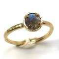 天然石リング 指輪 ラブラドライト ローズカット ハンマードリング(4本爪 カボション ラウンド 5mm)(真鍮ブラス・ゴールドカラー)