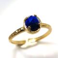 天然石リング 指輪 ラピス ローズカット ハンマードリング(4本爪 カボション ラウンド 5mm)(真鍮ブラス・ゴールドカラー)
