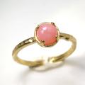 天然石リング 指輪 ピンクオパール ハンマードリング(4本爪 カボション ラウンド 5mm)(真鍮ブラス・ゴールドカラー)