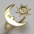 太陽 月 リング 指輪 三日月 4mm空枠(カボション用)真鍮ブラス・ゴールドカラー(2個)