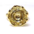 ブラス指輪 デザインリング フラワー 空枠 8mm 真鍮ブラス・ゴールドカラー(1個)
