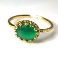 天然石指輪  グリーンオニキス ハンマードリング(カボションオーバル横8×6mm)(真鍮ブラス・ゴールドカラー)(1個)