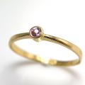 天然石リング 指輪 ピンクサファイア(スリランカ産)ラウンド 2.2mm(真鍮ブラス・ゴールドカラー)(1個)