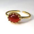 天然石指輪  レッドオニキス ハンマードリング(カボションオーバル横8×6mm)(真鍮ブラス・ゴールドカラー)(1個)