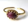 天然石指輪 ルビー・インド ハンマードリング(カボションオーバル横8×6mm)(真鍮ブラス・ゴールドカラー)(1個)
