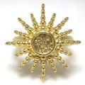 太陽 リング 指輪 6mm 空枠(カボション用)真鍮ブラス・ゴールドカラー(1個)