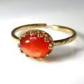 天然石指輪 サンストーン ハンマードリング(カボションオーバル横8×6mm)(真鍮ブラス・ゴールドカラー)(1個)