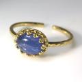 天然石指輪 タンザナイト(タンザニア)ハンマードリング(カボションオーバル横8×6mm)(真鍮ブラス・ゴールドカラー)(1個)