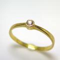 天然石リング 指輪 ホワイトサファイア(スリランカ産) ラウンド 2.2mm(真鍮ブラス・ゴールドカラー)(1個)