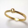 天然石リング 指輪 イエローサファイア(スリランカ産)ラウンド 2.2mm(真鍮ブラス・ゴールドカラー)(1個)