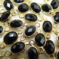 ガラス リンク コネクター(オーバル15×6mm) ブラック(真鍮ブラス・ゴールドカラー)(10個)