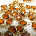 ガラス リンク コネクター(オーバル15×6mm) ダークオレンジ(真鍮ブラス・ゴールドカラー)(10個)