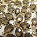 ガラス リンク コネクター(オーバル15×6mm) ダークカーキ(真鍮ブラス・ゴールドカラー)(10個)