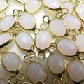 ガラス リンク コネクター(オーバル15×6mm) ホワイト(真鍮ブラス・ゴールドカラー)(10個)