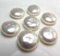 純国産ガラスパール 片穴  ボタン カボション バロックパール ミガキ 14mm ホワイトパールカラー[A](1個)