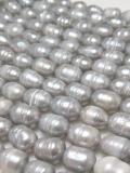 淡水パールビーズ ライス グレー 真珠 7~8mm玉 1連