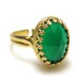 天然石グリーンオニキス指輪 ローズカット (カボションオーバル・14×10mm)(真鍮ブラス・ゴールドカラー)(1個)