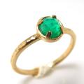 天然石リング 指輪 グリーンオニキス ローズカット ハンマードリング(4本爪 カボション ラウンド 5mm)(真鍮ブラス・ゴールドカラー)