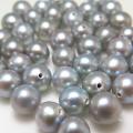 淡水パール真珠(シルバーブルーグレー系)片穴パール(ラウンド~セミラウンド7~7.5mm)(1個)