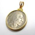 インディアン(バッファロー)コイン(5セント)コインペンダント・バチカン付「12kgf・ゴールドフィルド」(1個)