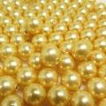 国産・貝パール(貝ミガキパール)ゴールデン系/ビーズ(丸玉・片穴)9mm玉(10個)