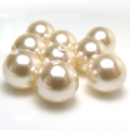 国産・貝パール(キスカ)ビーズ(丸玉・片穴)3mm玉(30個)