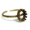 金古美 ハンマード指輪リング空枠クラウン(ベゼルセッティング/カボション用)(オーバル8×6mm)(真鍮ブラス・アンティークゴールド)(3個)
