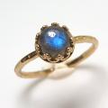 ラブラドライト ブルー 指輪 リング 天然石 ハンマード ラウンド6mm 真鍮ブラス・ゴールドカラー/1個