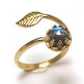 天然石ラブラドライト・ローズカット指輪リング・リーフ(ベゼルカボションラウンド・6mm)(真鍮ブラス・ゴールドカラー)(1個)