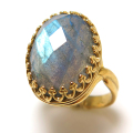 ラブラドライト指輪 リング 天然石 チェッカーカット(カボションオーバル・16×12mm)(真鍮ブラス・ゴールドカラー)(1個)