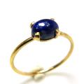 14kgf天然石リング(指輪)ラピスラズリ<12月誕生石> 6×4mm(4本爪カボション/オーバル)ゴールドフィルド(1個)
