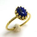 ラピスラズリ<12月誕生石>天然石・指輪ハンマードリング(カボションオーバル・8×6mm)(真鍮ブラス・ゴールドカラー)(1個)
