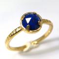 天然石リング 指輪 ラピス リング ローズカット ハンマード(4本爪 カボション ラウンド 5mm)(真鍮ブラス・ゴールドカラー)