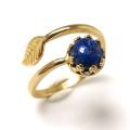 天然石ラピス指輪リング・リーフ(ベゼルカボションラウンド・6mm)(真鍮ブラス・ゴールドカラー)(1個)