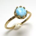 ラリマー 指輪 リング 天然石 ハンマード ラウンド6mm 真鍮ブラス・ゴールドカラー/1個