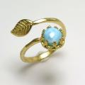 天然石ラリマー指輪リング・リーフ(ベゼルカボションラウンド・6mm)(真鍮ブラス・ゴールドカラー)(1個)