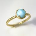 天然石リング 指輪 ラリマー ハンマードリング(4本爪 カボション ラウンド 6mm)(真鍮ブラス・ゴールドカラー)